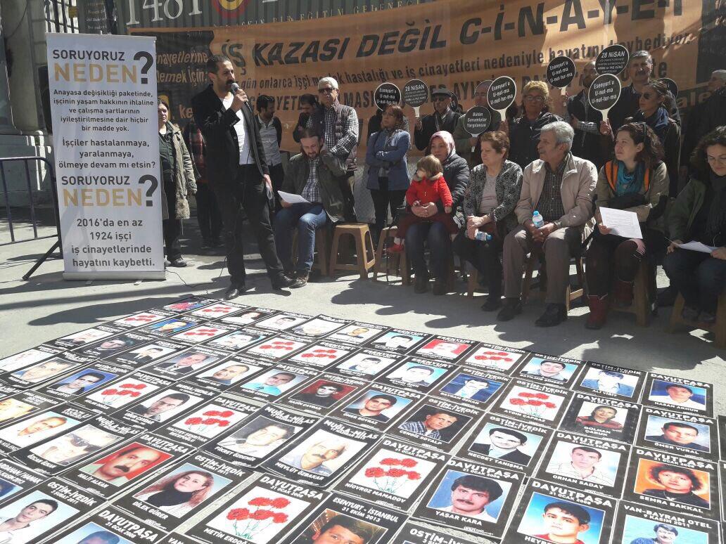 60'ıncı Vicdan ve Adalet Nöbeti'nde iş cinayetlerini öncelemeyen anayasa değişikliğine tepki