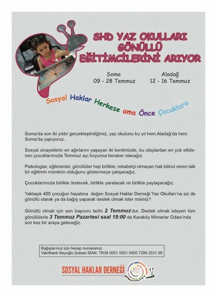 Sosyal Haklar Derneği'nden Soma ve Aladağ'daki Çocuklar İçin Yaz Okulu