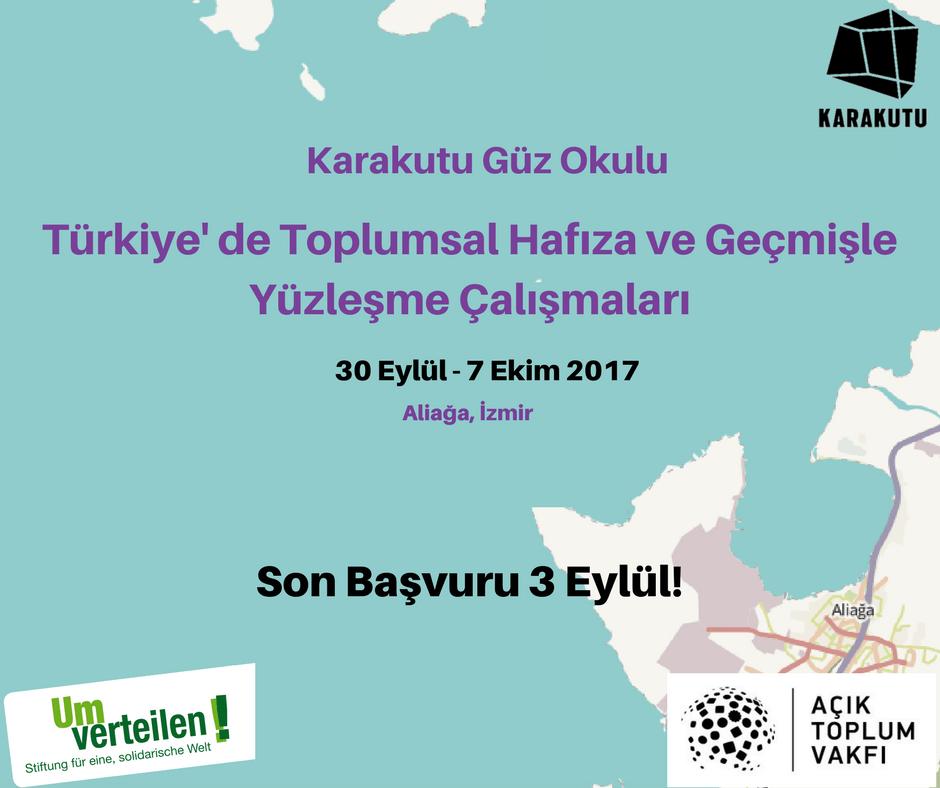 """""""Türkiye'de Toplumsal Hafıza ve Geçmişle Yüzleşme Çalışmaları"""" başlıklı güz okulunun başvuruları açıldı!"""
