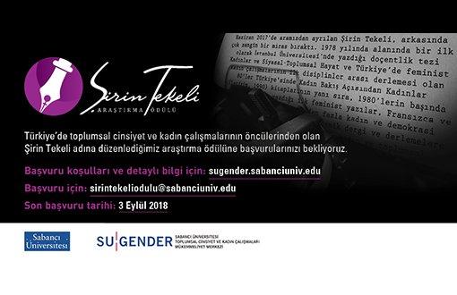 Şirin Tekeli Araştırma Ödülü Başvuruları İçin Son Tarih 3 Eylül