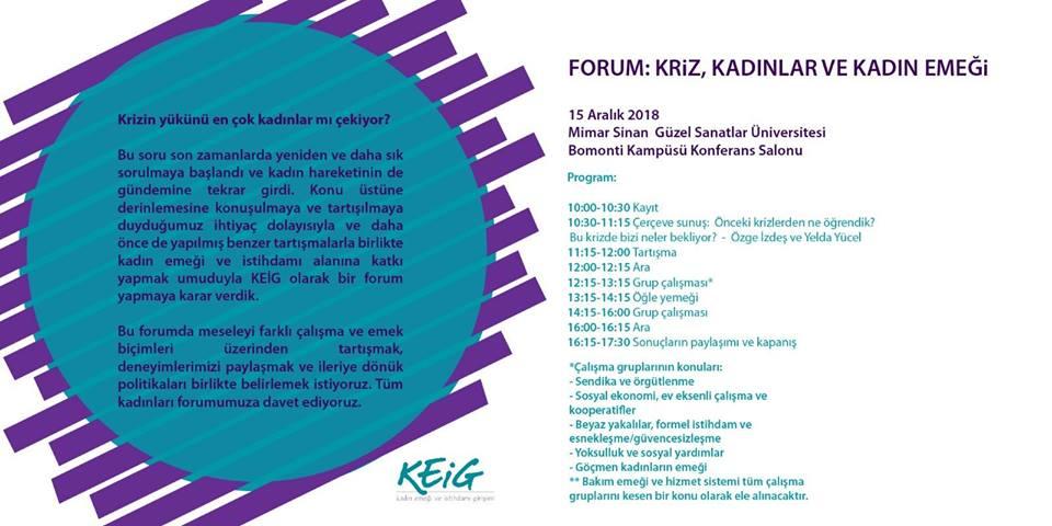 Kriz, Kadınlar ve Kadın Emeği Forumu