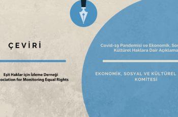Covid-19 Pandemisi ve Ekonomik, Sosyal ve Kültürel Haklara Dair Açıklama