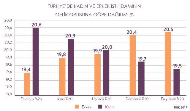 Türkiye'de kadın ve erkek istihdamının gelir durumuna göre dağılımı