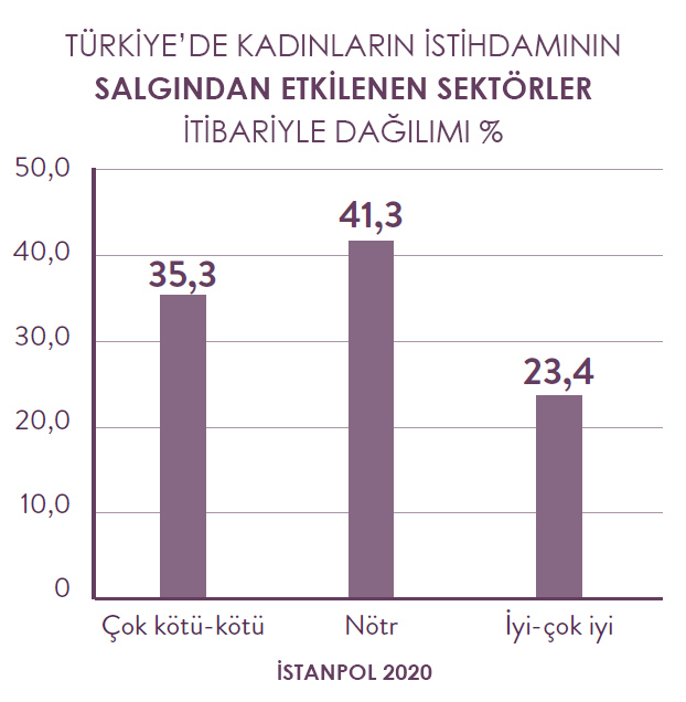 Türkiye'de kadınların istihdamının sektörler itibariyle dağılımı