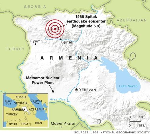 1988 yılında Spitak Depremi'nin merkez üssü ve 75 Kilometre mesafedeki Metsamor Nükleer Santrali