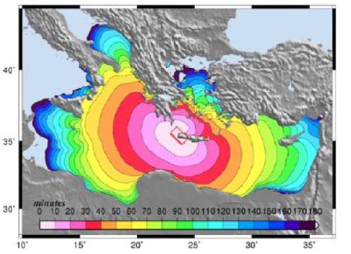 Helenik Yayı Girit Adası yakınında aletsel büyüklüğü 7'den büyük bir deprem ile oluşabilecek tsunami dalgalarının Türkiye'nin batı ve-güneybatı-güney kıyılarına ulaşma zamanlarını gösteren tsunami modeli (Lorito vd. 2008).