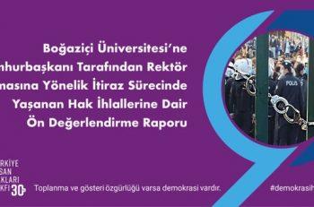 """TİHV: """"Boğaziçi Üniversitesi Gösterilerinde İnsan Hakları ve Akademik Özerklik İhlal Edildi"""""""