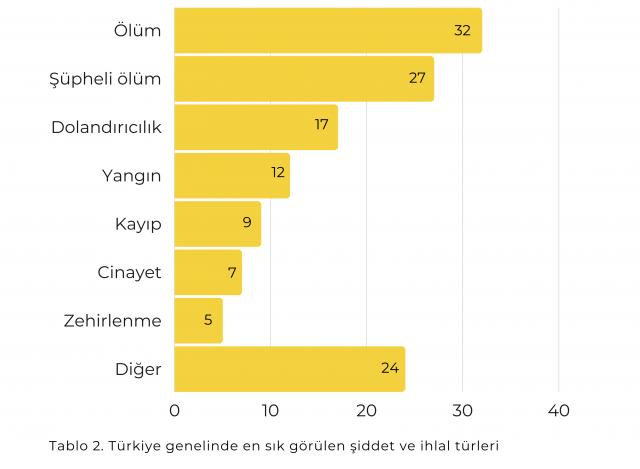 Senex Türkiye genelinde en sık görülen şiddet ve ihlal türleri