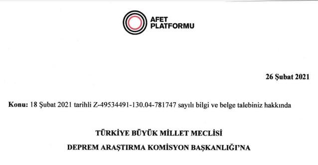 Afet Platformu Meclis Deprem Araştırma Komisyonu Önerileri