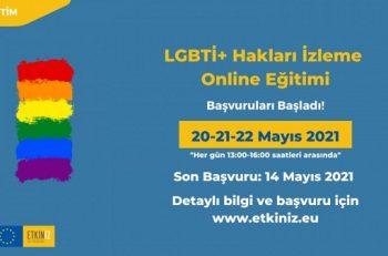 """Etkiniz """"LGBTİ+ Hakları İzleme Online Eğitimi"""" Düzenliyor"""